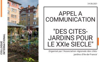 """Appel à communication / Colloque international """"Des cités-jardins pour le XXIème siècle"""""""