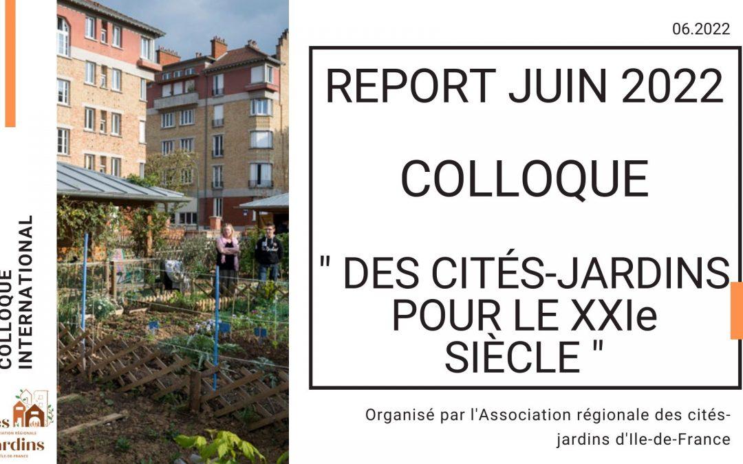 """Report colloque """"Des cités-jardins pour le XXIème siècle"""""""